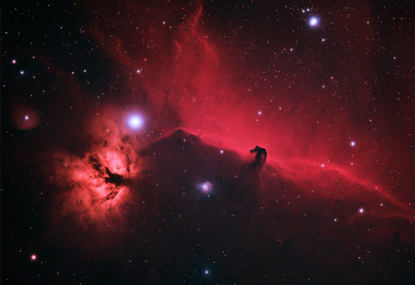 The Horsehead and Flame Nebula (4 Hours, 8 Minutes Total Exposure)