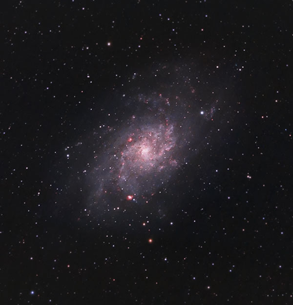 The Triangulum Galaxy with H II region details captured with the Esprit 100